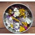 Pot-Pourri boîte ronde- Roses sauvages et fleurs des champs